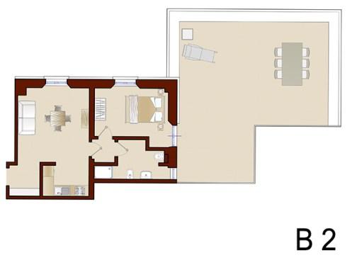 Plattegrond van appartement B2