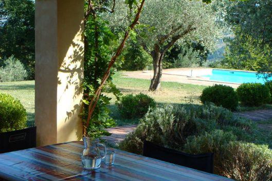 Terras met uitzicht op de tuin en het zwembad