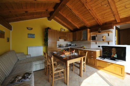 Woonkamer met volledig uitgeruste keuken