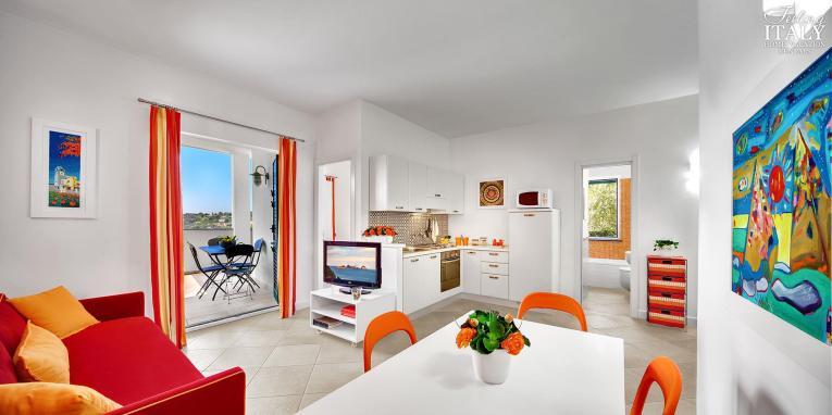 Appartement Figaro | Woonkamer met toegang tot het terras