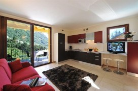 Woonkamer met open keuken en toegang tot het prive-terras