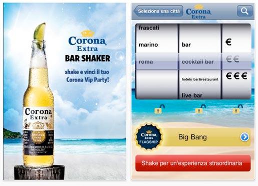 corona bar shaker Il locale giusto per un drink tra amici? Trovalo con uno shake del tuo iPhone!