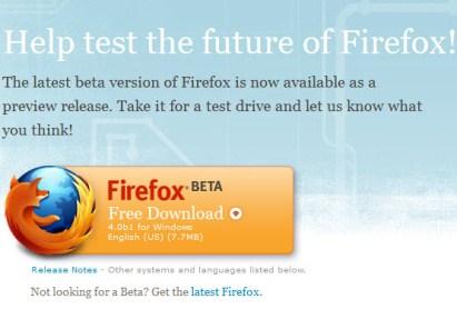 FireFox4.0 Beta1 001 Mozilla: Disponibile FireFox 4.0 Beta 1, su Acid 3 ha registrato un punteggio di 97 su 100