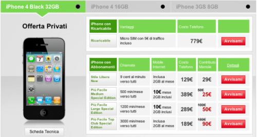 Voda iPhone 4 offerte 002 500x267 Vodafone pubblica sul proprio sito le offerte di iPhone 4, si parte da 25  Euro al mese