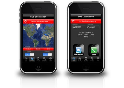 sos localization Con SOS Localization condividi la tua posizione anche su Facebook… e trasformi il tuo iPhone in un dispositivo di emergenza