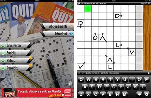 domenicaquiz Domenica Quiz 2.0, un app per iPad e iPhone dedicata a chi ama lenigmistica