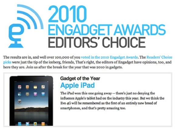 engadgetipadaward Engadget nomina iPad Gadget of the Year