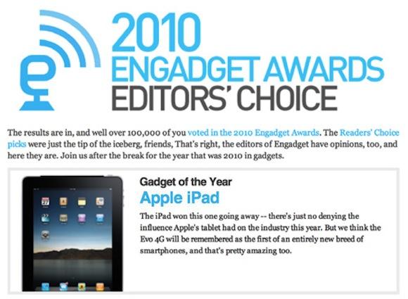 engadgetipadaward Engadget nomina iPad Gadget of the Year