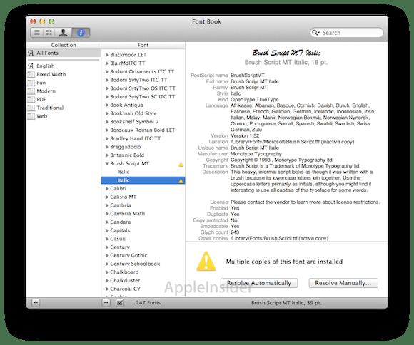 fontbook3.1.022711 Mac OS X Lion   notifiche push, nuove opzioni per le applicazioni che vanno in crash, emoticon
