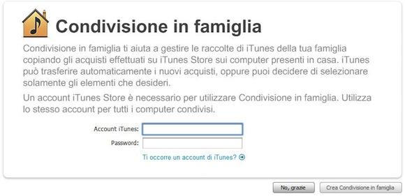 condivisione in famiglia iOS 4.3 e la Condivisione in Famiglia