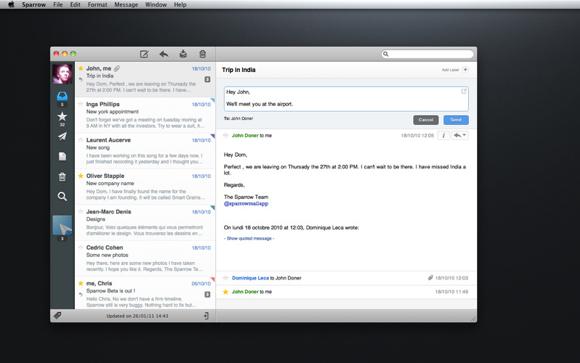 sparrow Sparrow, il client e mail per Mac che si ispirava a Tweetie