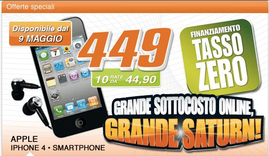 Schermata 2011 05 02 a 17.38.42 Nello Store online di Saturn è possibile acquistare liPhone 4 in offerta a 449 euro