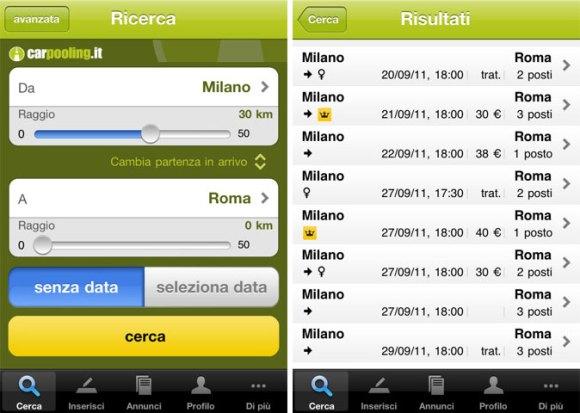 carpooling 580x413 App iPhone Carpooling: con la nuova versione trovare un passaggio è ancora più facile