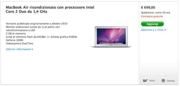 macbookAir 699  580x278 MacBook Air 2010 ricondizionati con Lion a partire da 699 euro