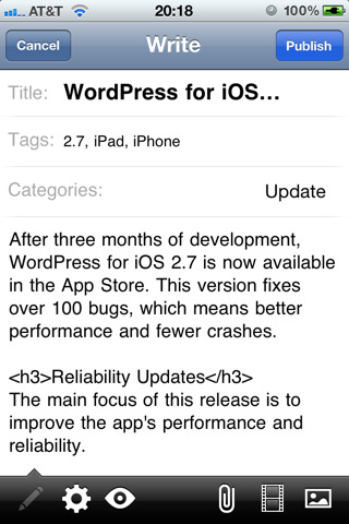 mzl.mqlryhyn.320x480 75 Aggiornamento: WordPress per iOS giunge alla versione 2.8.3