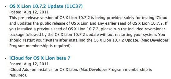 11c37 Apple rilascia OS X 10.7.2 Build 11C37 e iCloud Beta 7 agli sviluppatori
