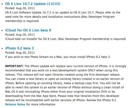 11c43 updates Rilasciati da Apple OS X Lion 10.7.2 Build 11C43, iPhoto 9.2 beta 3 e iCloud beta 9