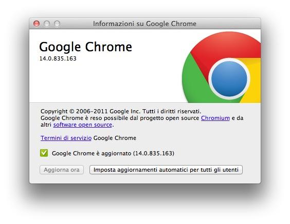 aggiornamento chrome Google rilascia una versione di Chrome ottimizzata per OS X Lion