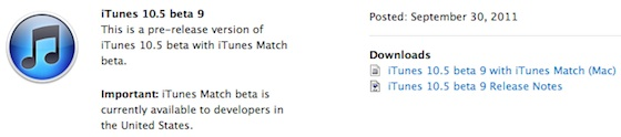 itunes 10 5 beta 9 Rilasciata la beta 9 di iTunes 10.5 agli sviluppatori