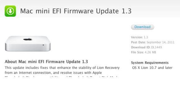 mac mini 580x276 Apple rilascia laggiornamento del firmware EFI per il MacBook Pro e per il Mac mini