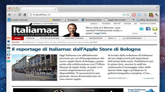 screen shot 2011 09 16 at 4 24 47 pm 580x322 Google rilascia una versione di Chrome ottimizzata per OS X Lion