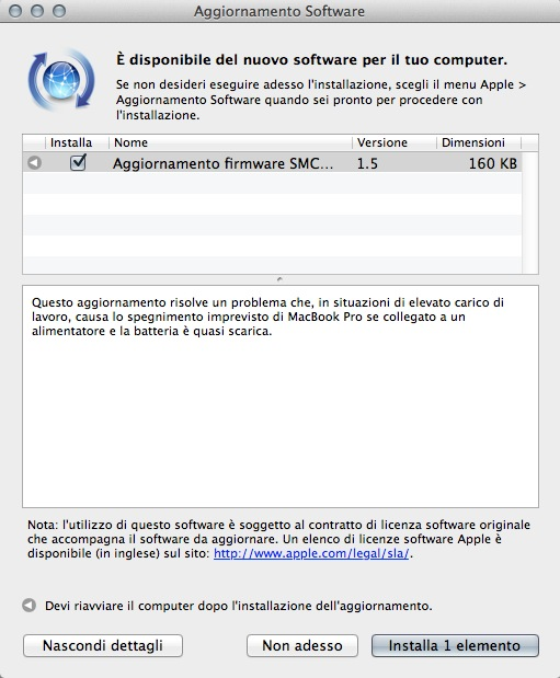 Schermata 11 2455877 alle 11.15.04 Apple rilascia aggiornamenti per i firmware dei MacBook Pro, di Camera RAW, dellAirPort Base Station e Time Capsule