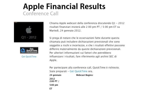 Schermata 01 2455931 alle 10.51.14 580x384 Martedì 24 Gennaio Apple pubblicherà i risultati finanziari del 1° trimestre 2012