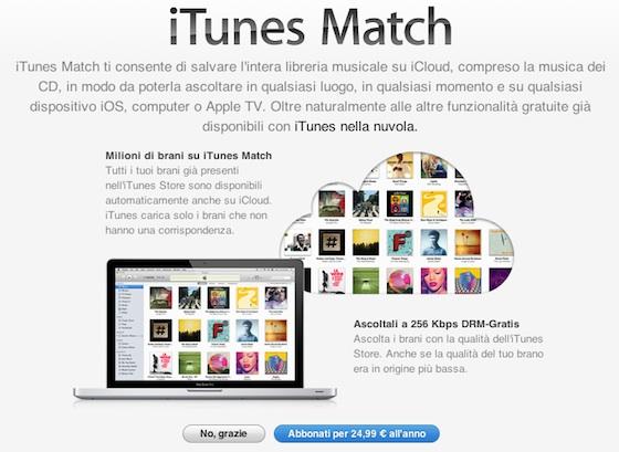 itunes match signup italy iTunes Match sbarca finalmente in Italia