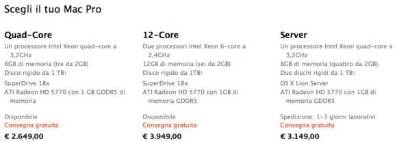 prezzi macpro 580x207 Aggiornati i Mac Pro: caratteristiche, prezzi e considerazioni