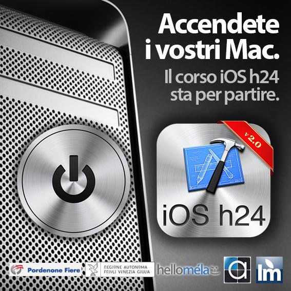 AccendeteMac iOS24 iOS h24, in partenza il corso per sviluppare app iPhone in collaborazione con Italiamac a Pordenone