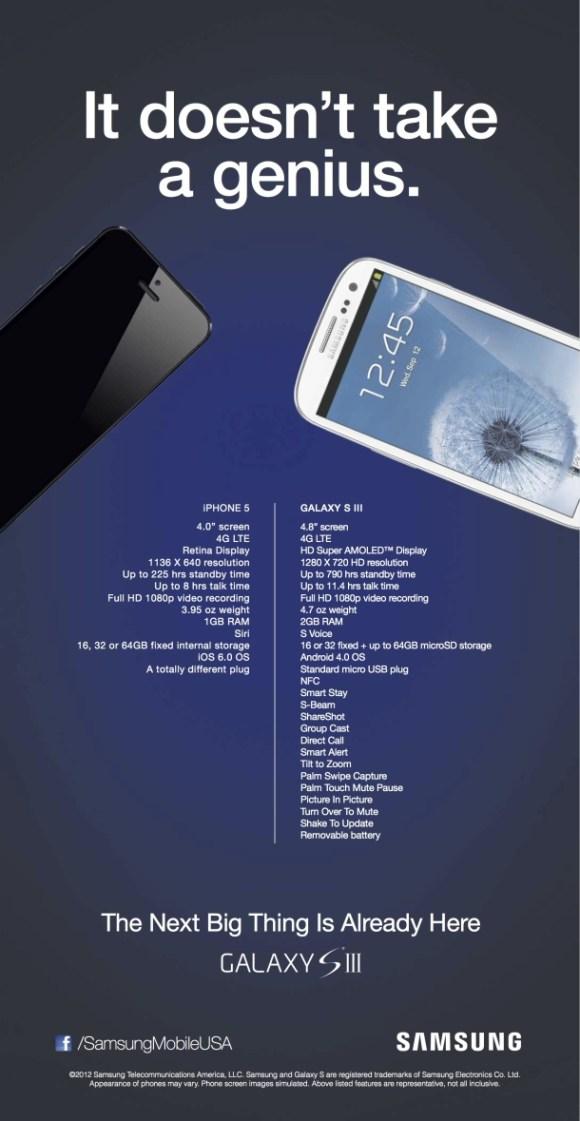 AnnuncioSamsung 580x1121 Samsung crea un annuncio pubblicitario in cui ridicolizza liPhone 5