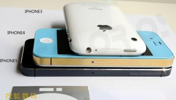 Nouvel iPhone 5 005 580x331 Nuovo iPhone 5 (presunto) a confronto con iPhone 4 e iPhone 3