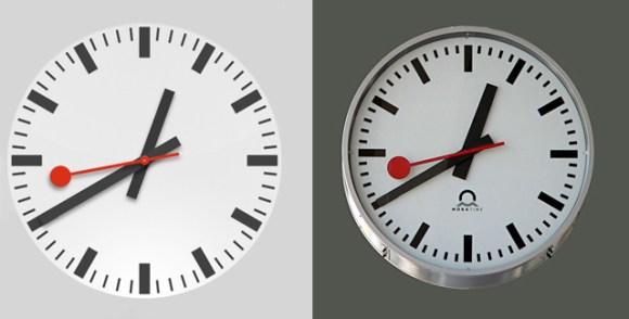 apple vs sbb clock 01 580x294 Lorologio di iOS 6 pare un clone di quello delle Ferrovie Federali Svizzere