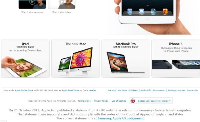 AppleSamsungUk Apple e le scuse per Samsung da riscrivere..