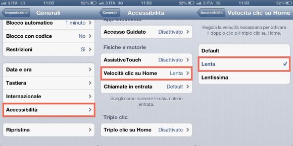 accessibilita italiamac iphone 580x290 Configuriamo la velocità del Tasto Home di iPhone, iPad e iPod touch
