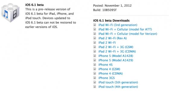 ios6.1 beta Disponibili al download iOS 6.1 Beta e Xcode 4.6 Beta per gli sviluppatori