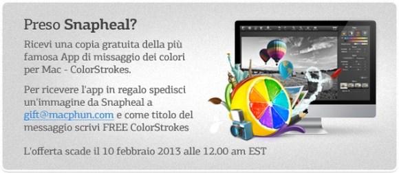 colorstrokespromo 580x252 Grazie a Italiamac la app di fotoritocco Snapheal è scontata del 75% + una seconda app in regalo. Solo questo weekend.