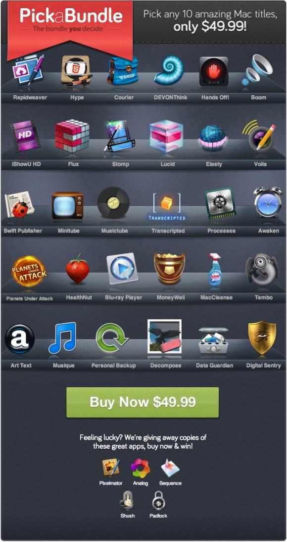 pickabundletotal 580x1093 Pick a Bundle, scegli 10 app per Mac fra le 30 proposte a soli $49,99