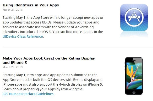 screenshot comunicato Da Maggio stop alle applicazioni che non supportano lo schermo delliPhone 5 sullApp Store
