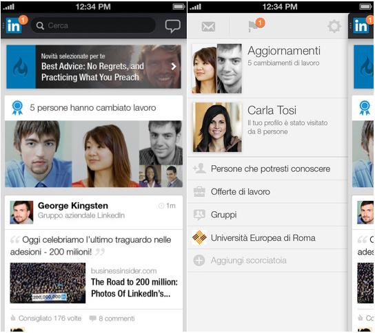 LinkedIn per iOS Restyling grafico per lapp iOS di LinkedIn
