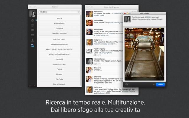 Twitter per Mac Aggiornata lapplicazione di Twitter per Mac