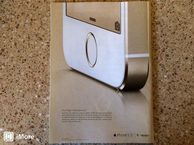 Pubblicità cartacea di iPhone 5s sul New Yorker