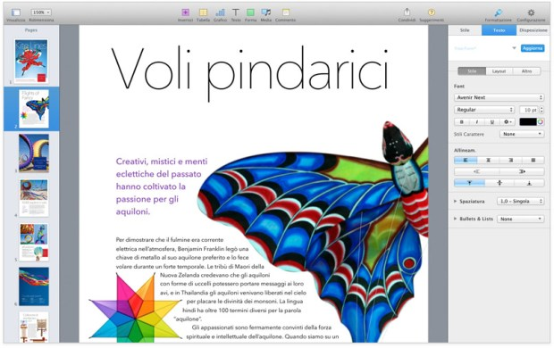 pages screen 1 620x390 Maveriks, iWork e iLife: Disponibili gratuitamente