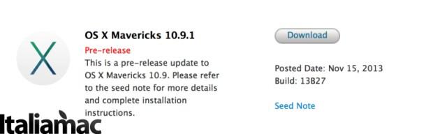 10.9.1 Beta 620x192 OSX 10.9.1 Beta inviato agli sviluppatori