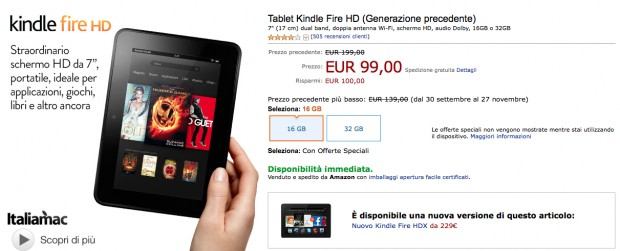 Kindle Fire HD 16GB a 99 Euro 620x251 Black Friday Amazon: Kindle Fire HD a 99€ e tanto altro