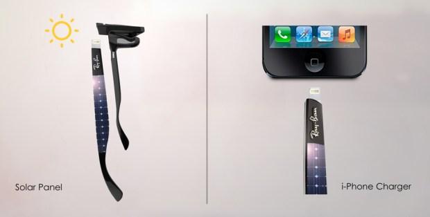 Ray Ban Shama Shades1 620x314 Ray Ban Shama Shades con pannelli solari per ricaricare liPhone   Concept