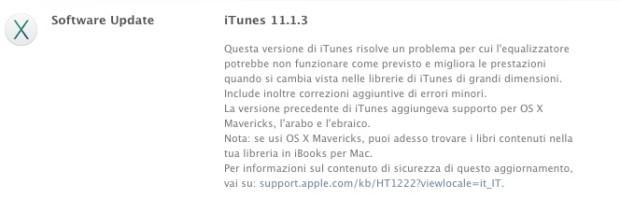 Changelog di iTunes 11.1.3