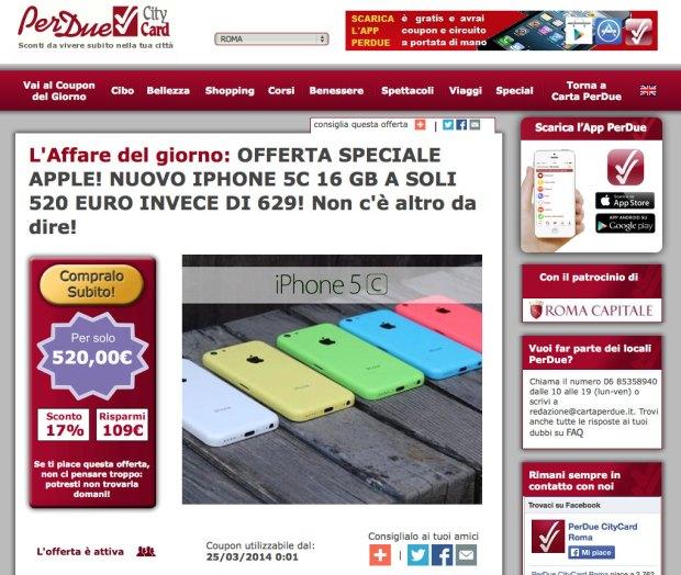 perdue 620x524 109 Euro di sconto su iPhone 5c sul sito CartaPerDue