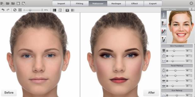 Makeover Beauty Center2 620x311 FaceFilter 3: utile editor per migliorare le foto dei volti, anche con effetti