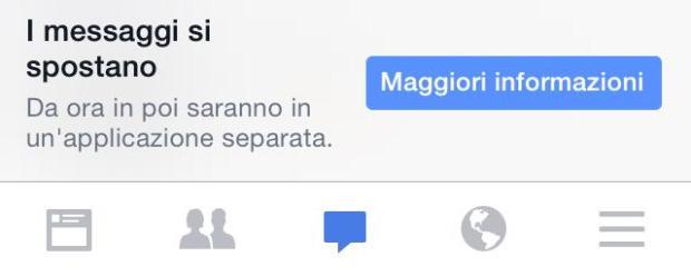"Avviso su Facebook ""i messaggi si spostano"""